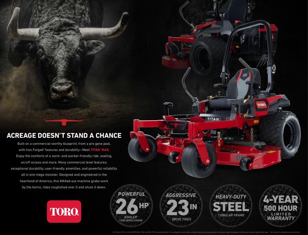 """Imager of 2021 Toro Titan Max 60"""" zero turn mower"""